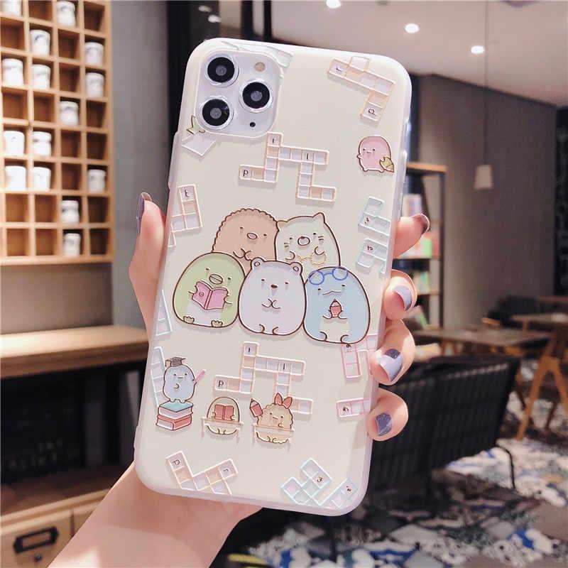 Japão dos desenhos animados sumikko gurashi em relevo tpu capa traseira caso do telefone para o iphone 11 pro max 8 7 plus x xr xs max capa protetora
