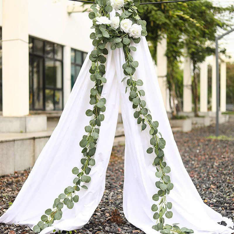 ירוק אקליפטוס עלים זר ויסטריה פרחים מלאכותיים קש צמח מזויף משי עלה גפנים לחתונה מסיבת יום הולדת דקור