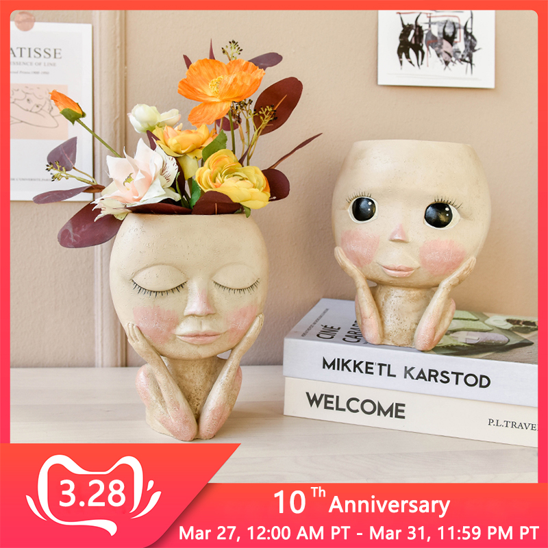 Human Face Vase Decoration Big Eyes Doll Resin Flowerpot Figure Sculpture Crafts Storage Container Flower Arrangement Container