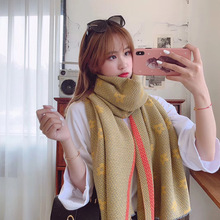 New autumn and winter scarf female imitation cashmere retro joker press wrinkle thicken warm collar shawl