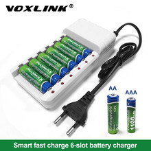 VOXLINK Battery Charger intelligent 6slots EU cable For AA/AAA Ni Cd Rechargeable Batteries For remote control microphone camera