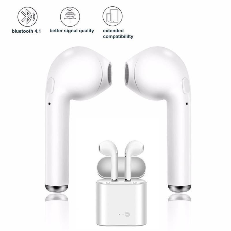 Беспроводные наушники i7s tws, Bluetooth 5,0, спортивные наушники-вкладыши, гарнитура с микрофоном и зарядным боксом, наушники для всех смартфонов 3