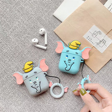 Cute Dumbo trunk Gloomy bear Bluetooth Silicone Case For Apple Airpods Protective Cover Air Pods Earphone Cases Cartoon Key Ring 3d lucky rat cartoon bluetooth earphone case for airpods pro cute accessories protective cover for apple air pods 3 silicone
