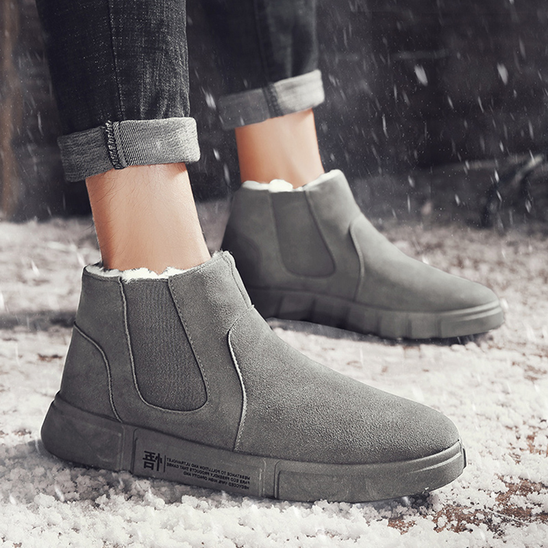 Hot Sale New Fashion Men Boots Waterproof Ankle Snow Boots Winter Work Shoes Keep Warm Fur Men Footwear Outdoor Plush Shoes image