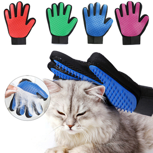 Pet Dog Cat Grooming Cleaning Brush Gloves Effective Deshedding Back Massage Rabbit Animal Bathing Hair Removal Gloves Dog Comb