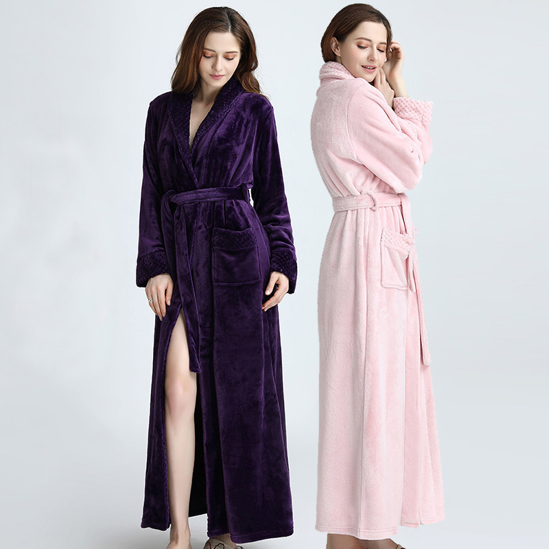 Image 2 - Lovers Winter Extra Long Plus Size Flannel Coral Fleece Warm Bathrobe Women Dobby Kimono Bath Robe Bridesmaid Sexy Dressing Gown-in Robes from Underwear & Sleepwears