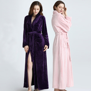 Image 2 - Lovers Winter Extra Long Plus Size Flannel Coral Fleece Warm Bathrobe Women Dobby Kimono Bath Robe Bridesmaid Sexy Dressing Gown