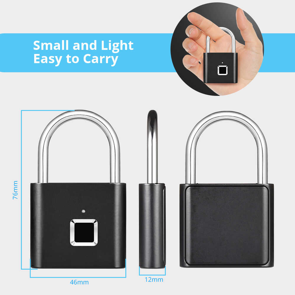 Sac tiroir valise serrure d'empreintes digitales cadenas intelligent empreinte digitale porte cadenas Portable antivol serrure d'empreintes digitales pour