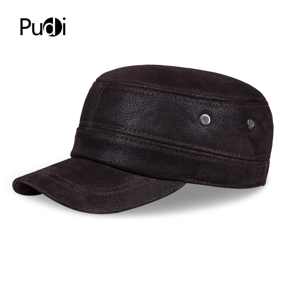 HL019 واقعی کلاه بیس بال چرم واقعی / کلاه مردانه با نام تجاری جدید بهار جدید ارتش پاییز گرم کلاه کلاه کامیون با لاله گوش