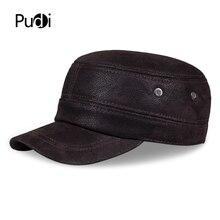 HL019 Genuine Leather Rider Style Cowhide Fashion Army Cap Box Hat Cadet Visor