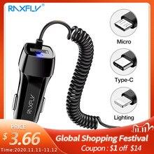 Raxfly 자동차 충전기 자동차 usb 빠른 충전기 3.0 xiaomi 자동차 충전기에 대 한 휴대 전화 마이크로 유형 c 빠른 케이블 아이폰 충전기에 대 한