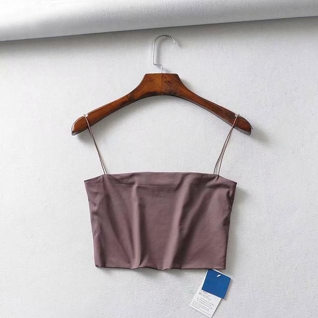 2020 Summer Women's Crop Top Elastic Cotton Camis  3