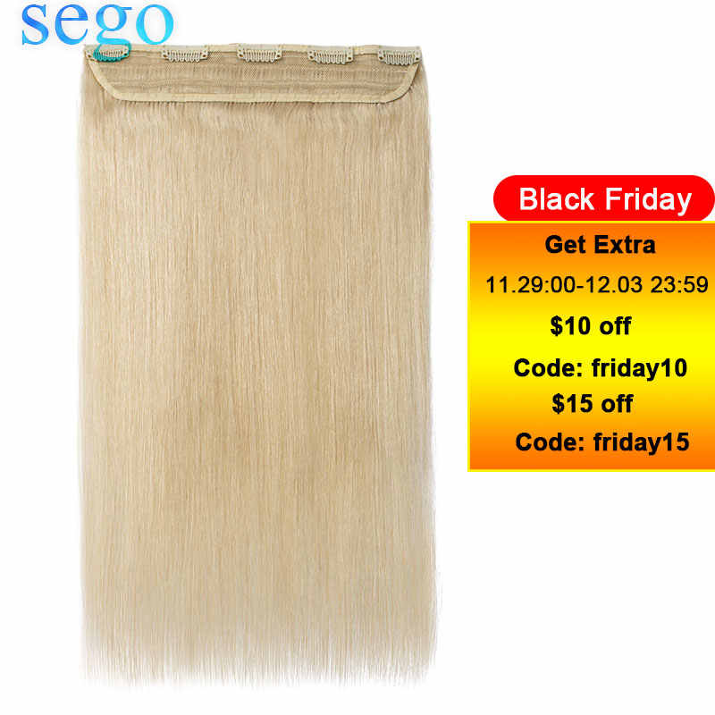 "SEGO 16""-22"" 80G-100G Clip In One Piece Brazilian Hair Clips 1p/w 5 clips Non-Remy Hair piece Straight Clip Human Hair Extension"