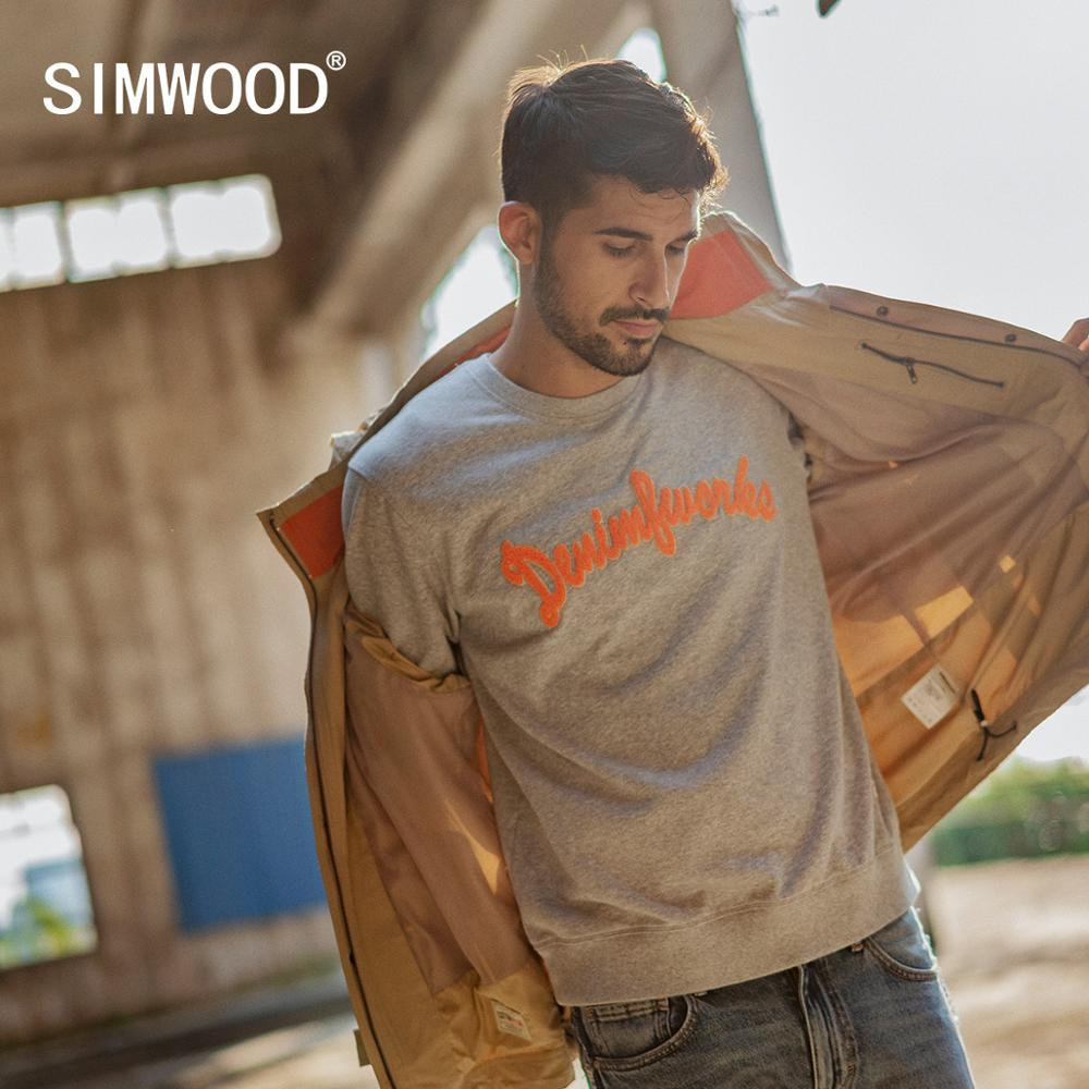 SIMWOOD 2020 Spring New Hoodies Men Vintage Letter Embroidered Sweatshirt  Fashion Jogger O-neck Pullover Hoodie SI980587