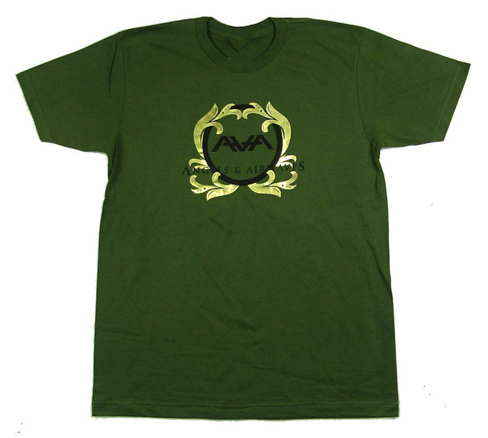 Angels & Airwaves Gold Foil Logo Green T <font><b>Shirt</b></font> New Soft <font><b>Blink</b></font> <font><b>182</b></font> Streetwear Tee <font><b>Shirt</b></font> image