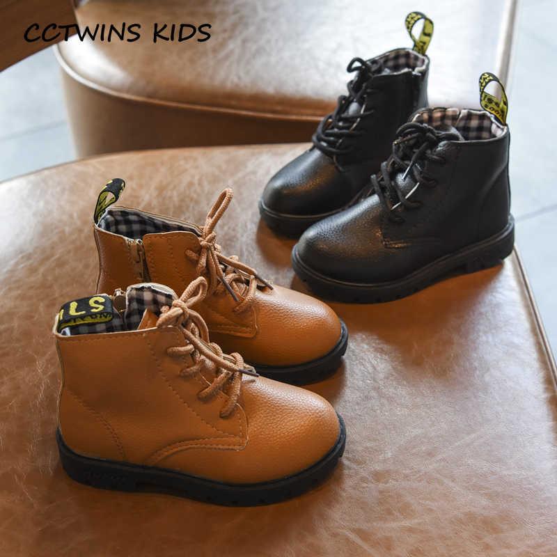 Çocuk ayakkabıları 2019 yeni bebek kız yumuşak Zip Martin çizmeler sonbahar çocuk moda yarım çizmeler çocuk kaymaz siyah Pu marka ayakkabı