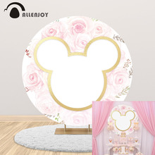 Allenjoy Pink Gold Mouse Kid Party Supplies Banner First Birthday Custom Name Flower Round Background Photography Cartoon Banner