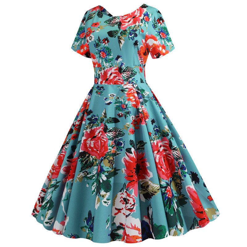 Summer Floral Print Elegant A-line Party Dress Women Slim White Short Sleeve Swing Pin up Vintage Dresses Plus Size Robe Femme 131