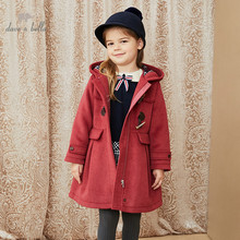 DKH15124 dave bella winter kids girls 5Y-13Y fashion solid hooded padded coat children cute tops high quality outerwear
