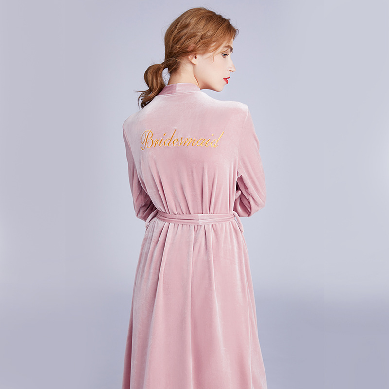 Women's Velvet Robe Marriage Robe Embroidered Brideaid Cardigan Robe Bridesmaid Morning Gowns Sr1280