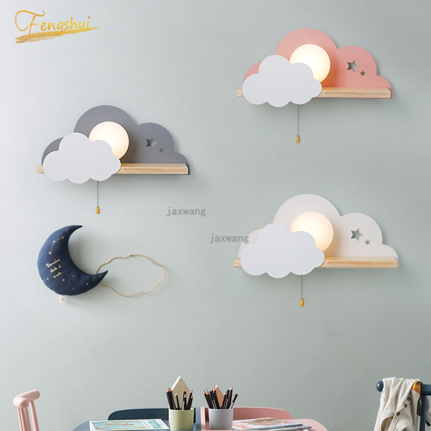 Nordic Macaron LED Glass Wall Lamps Beside Bedroom Light Fixtures Modern Children Room Cloud Wall Lamp Stairs Wall Light Sconces