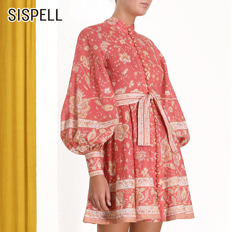 SIAPELL Vintage imprimer femmes robe col montant lanterne manches taille haute à lacets bouton Mini robes femme 2019 mode