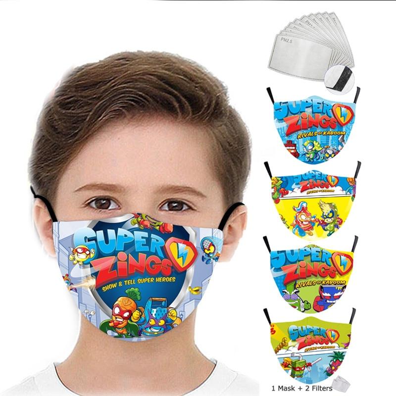 Многоразовая детская маска Game Superzings, моющаяся маска для мальчиков, модная маска с принтом, Детская Тканевая маска для лица, забавные детские...