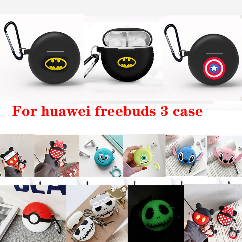 Fashion Cartoon Headset Silicon Case For Huawei Freebuds 3 Case Funda For Huawei Freebuds3 Pro Funny Luminous Earphone Case