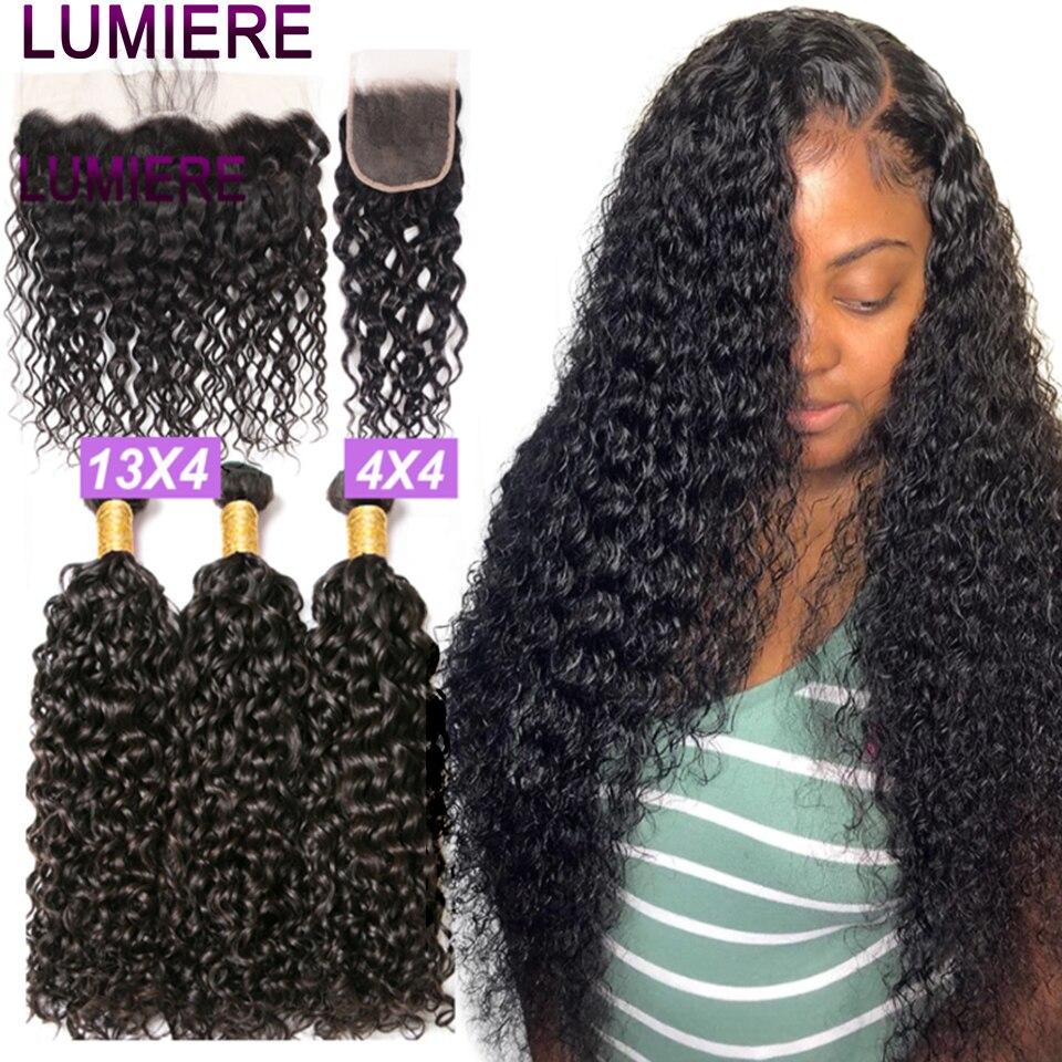 Lumiere Haar 28 30 40 Zoll Wasser Welle Bundles Mit Verschluss Brasilianische Haar Bundles mit Frontal 3 4 Bundles Weave mit Verschluss