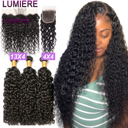 Lumiere Hair 28 30 40 Inches Water Wave Bundles With Closure Brazilian Hair Bundles with Frontal 3 4 Bundles Weave With Closure