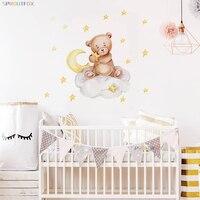Baby Wand Aufkleber Bär mit Sterne Cartoon Tiere Aufkleber Wohnkultur Wohnzimmer Berdroom Kinder Dekorative Wand Abziehbilder