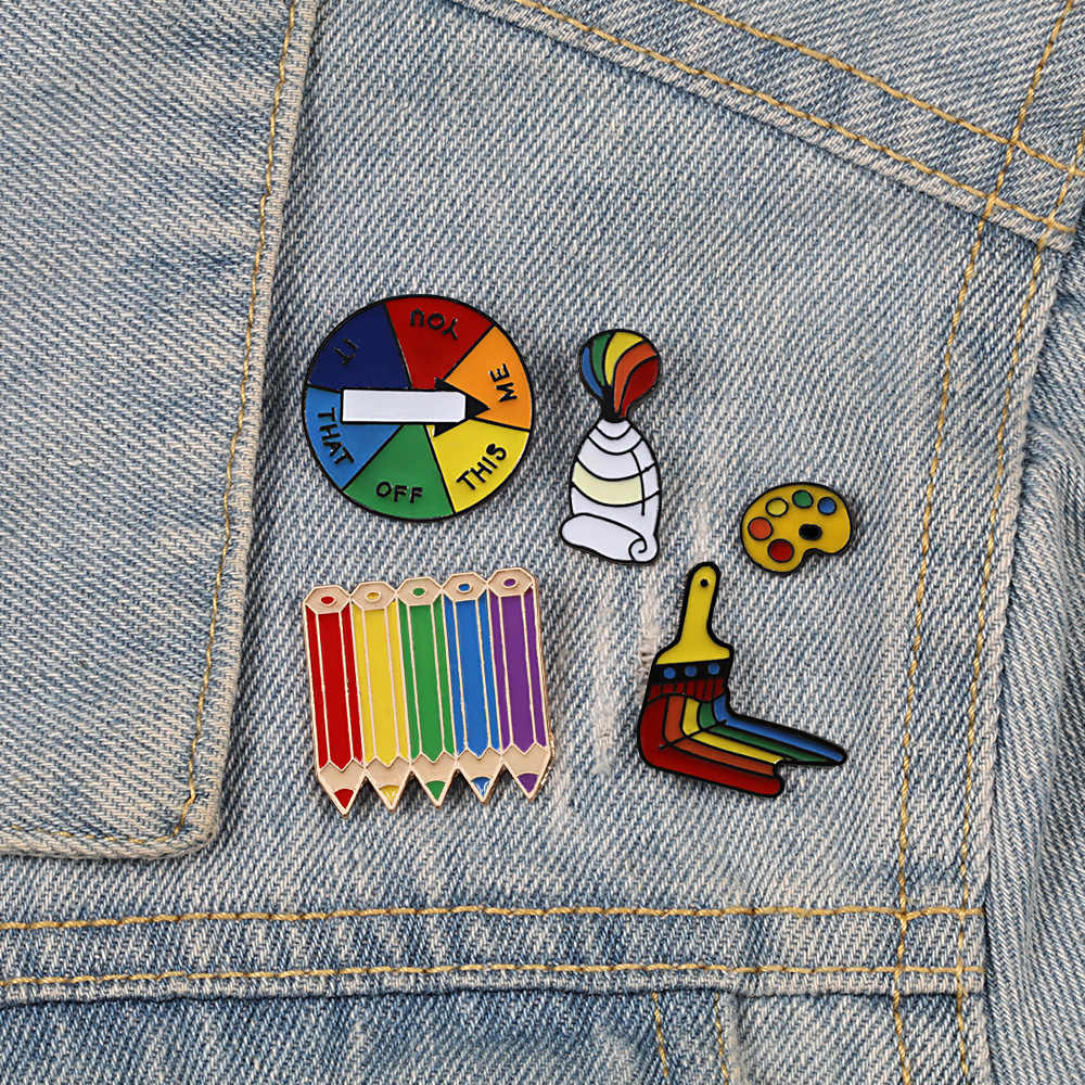 Unisex Broches Regenboog Vlag Schapen Hart Pigment Tool Emaille Pins Vrouwen Mannen Denim Jassen Revers Pin Gay Lesbische Badge Sieraden
