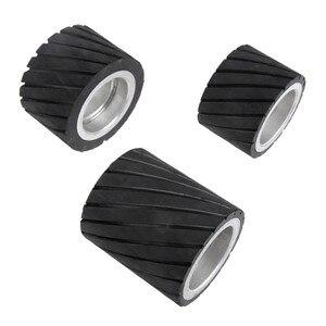 Image 4 - 70x50mm 80x50mm 70x80mm Belt Grinder Rubber Contact Wheel Abrasive Sanding Belt Set Polishing Grinder Sanding Contact Wheel Belt