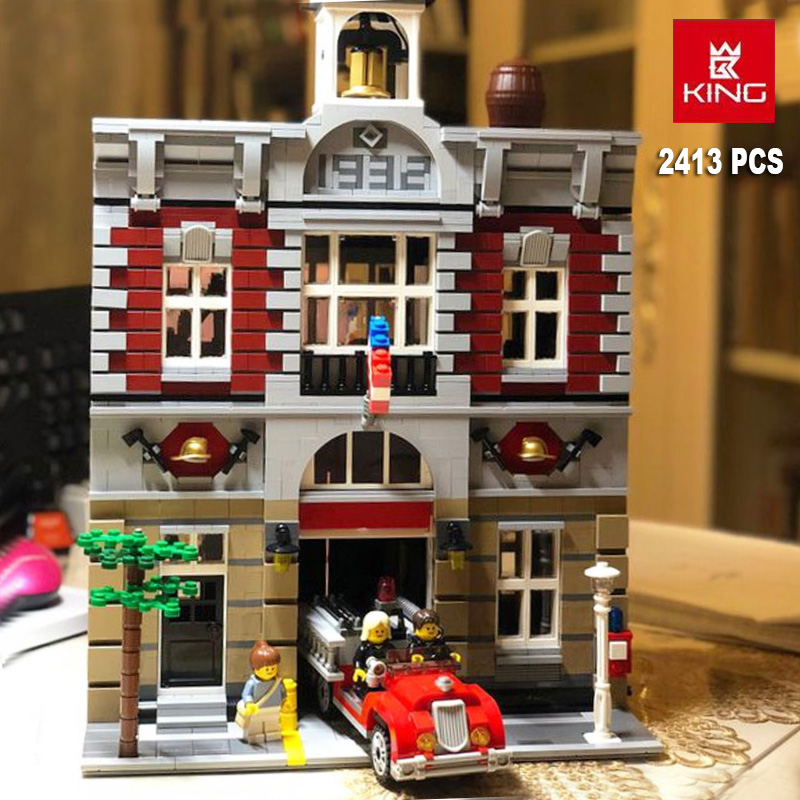 Fire Brigade Station City Architecture Set Compatible Creator <font><b>10197</b></font> 15004 Building Blocks Toys for boy girl Birthday Gifts image