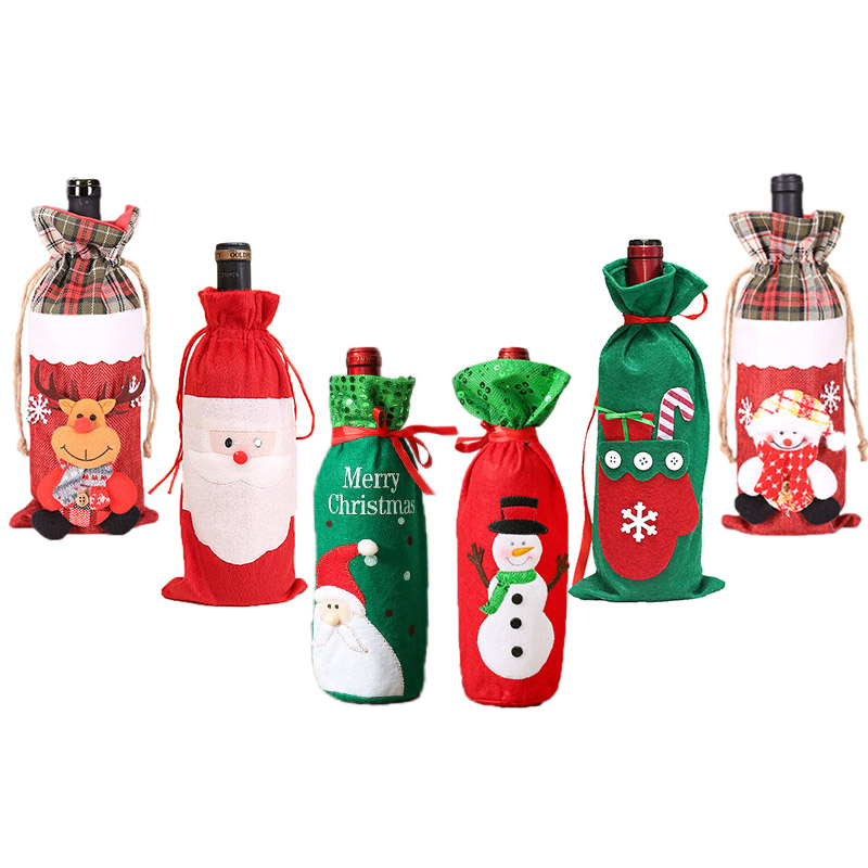 1Pc Christmas Wine Bags Wine Bottle Cover Gift Packaging Bags For Christmas Party Decorations Champagne Holders Xmas Table Decor