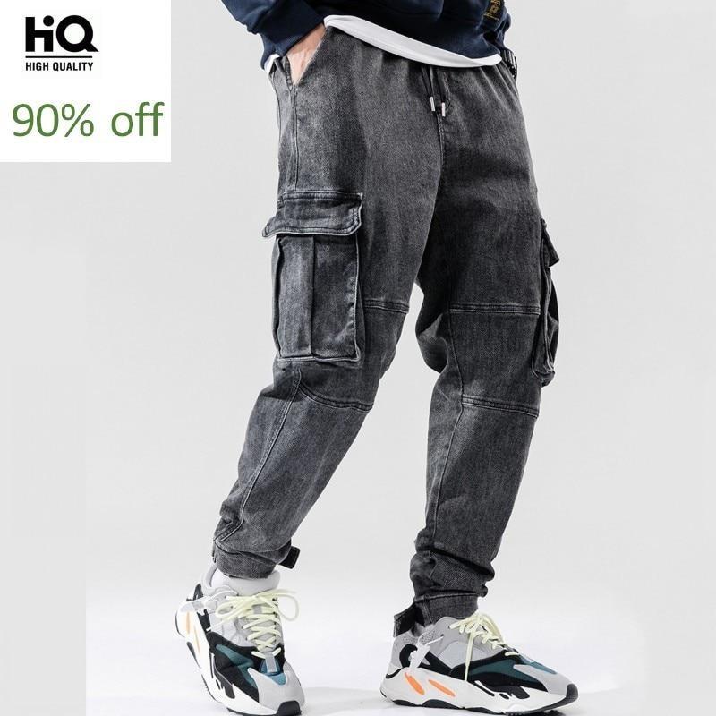 Fashion Men Hip Hop Style Loose FIt Jeans Harem Pants Elastic Waist Pockets Cargo Pants Casual Streetwear Joggers Denim Trousers