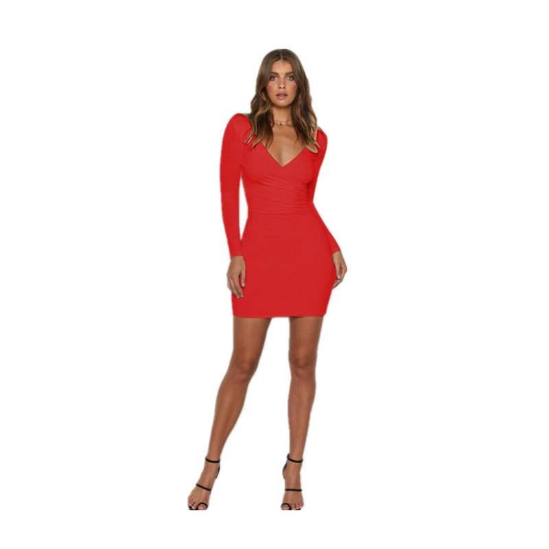 Women Deep V-Neck Stretch <font><b>Dress</b></font> 2019 Newest Solid Backless <font><b>Long</b></font> Sleeve Mini <font><b>Dresses</b></font> Cocktail Party <font><b>elegant</b></font> <font><b>Sexy</b></font> Bodycon Clothes image