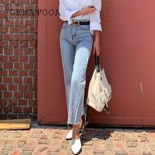 Genayooa otoño primavera alta cintura Jeans mujeres Streetwear vaqueros de pierna ancha Skinny Light Washing pantalones vaqueros de estilo Boyfriend para mujer