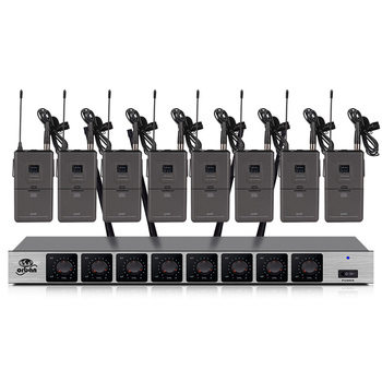 8-channel wireless microphone system can be equipped with a handheld waist pack conference gooseneck microphone outdoor stage