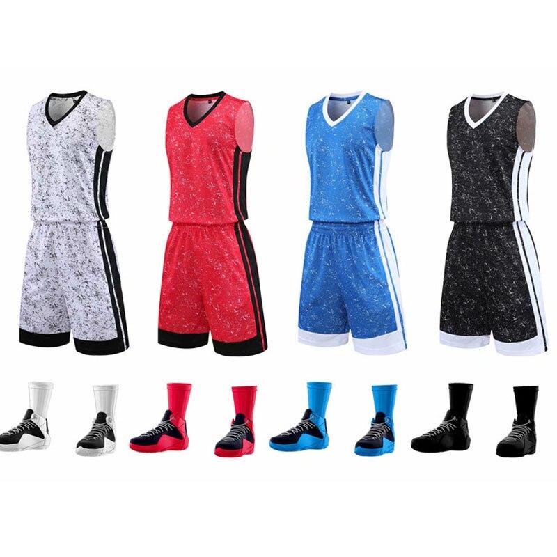 Uniforme da Equipe de Basquete sem Mangas Agasalho para as Mulheres dos Homens Shorts de Basquete em Branco Terno de Treinamento Camisa Esportivo Personalizado &