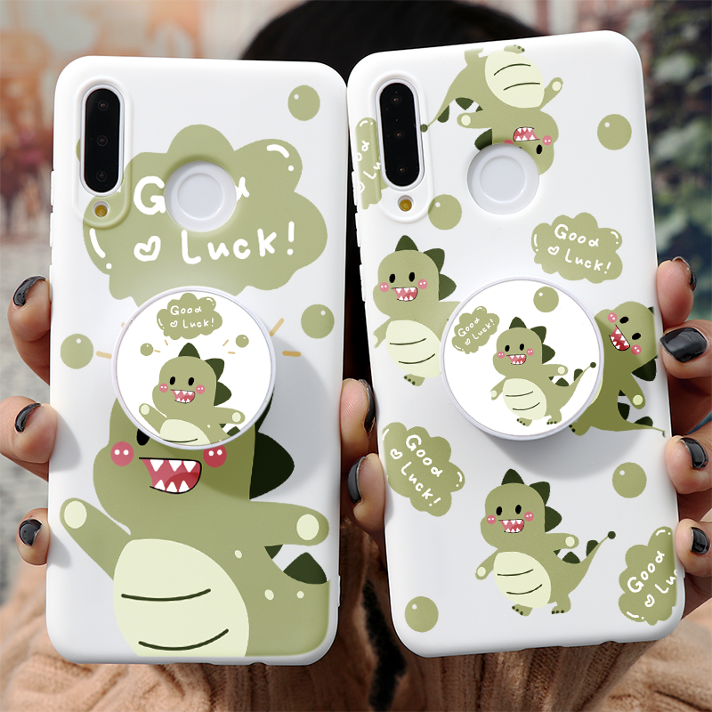Cartoon Dinosaur Case For Huawei P40 Lite E P30 P20 Honor 30 Pro 20 10 Lite 10I 8X Psmart Y6 Y7 Y9 Prime 2019 Cover Stand Holder