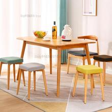 Customized Fabric Removable And Washable Imitation Solid Wood Iron High Square Stool Dining Chair Stool Restaurant Coffee Shop S