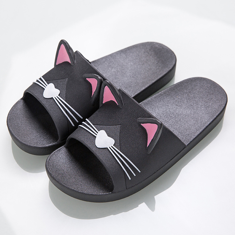 MR CO Summer Women Slippers Cute Cartoon Cat Indoor Bathroom Slipper Couples Flip Flops Soft Flat Women Shoes