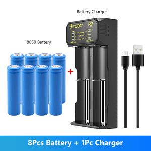 New 8Pcs Battery 18650 3.7V 5000 MAH Li ion rechargeable battery 18650 batery For Flashlight +1pcs 18650 battery charger
