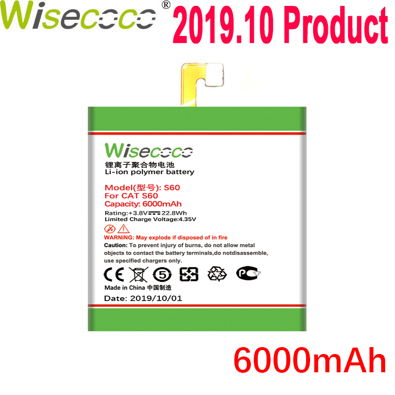 WISECOCO 6000mAh <font><b>S60</b></font> <font><b>Battery</b></font> For <font><b>CAT</b></font> <font><b>S60</b></font> Mobile Phone In Stock Latest Production High Quality <font><b>Battery</b></font> With Tracking Number image