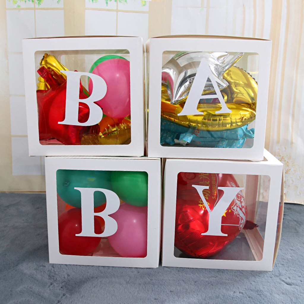 Letter A- Z  Transparent Gift Boxes Kid Birthday Baby Shower Party Decoration Dropshipping Accessories Tool Christmas  Decoratio