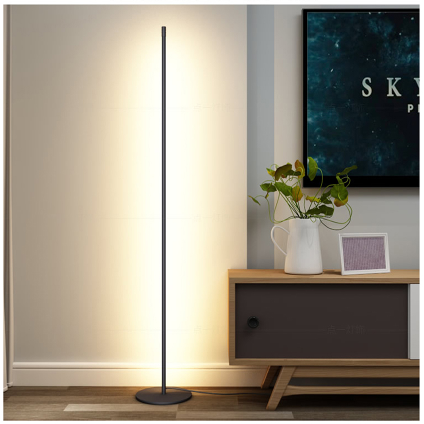 Mondern LED Floor lamp Vertical Strip Round Stick Floor Light Bedroom Art Decor Living Room Atmospheric Floor Lamp Light Fixture