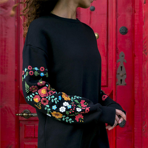 Dress Women Winter Mini Dress Classic Floral Printed Long Sleeve O-Neck Loose Warm Dress Black Streetwear Vestido 2020
