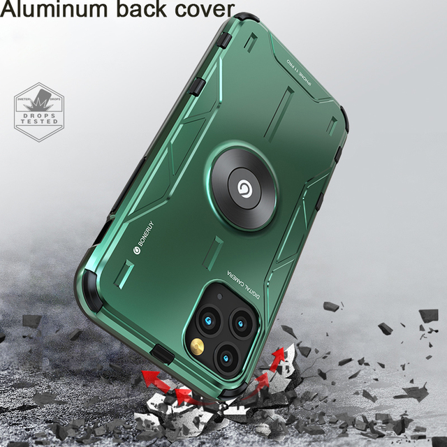 Metal alüminyum zırh iPhone için kılıf 11 kılıf funda coque iPhone xs için xr 11 Pro Max telefon kılıfı kapak darbeye dayanıklı Fundas tutucu
