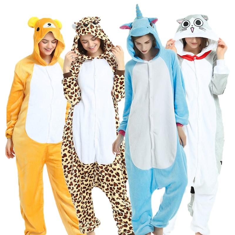 Kigurumi Autumn Winter Flannel Unicorn Pajama Sets Cartoon Sleepwear For Men Women Pajama Animal Stitch Panda Bear Pajama
